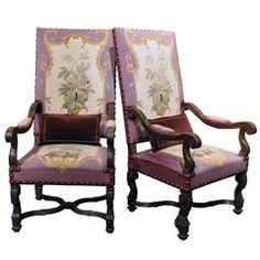 Pair of 19th Century French Louis XIV Armchairs with Aubusson Tapestry