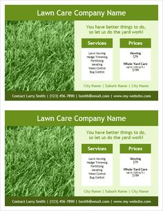 Best Business Templates Images On Pinterest Business Templates - Free lawn care flyer template