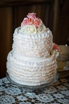#Ruffled Wedding Cake | Vintage + Rustic Elegance... Wedding Ideas from Tara Consolati and Tricia McCormack Photography | See more on SMP: http://www.StyleMePretty.com/massachusetts-weddings/2014/02/05/vintage-rustic-wedding-ideas/