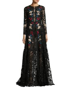 Dupont Long-Sleeve Embroidered Floral Tulle Gown, Jet