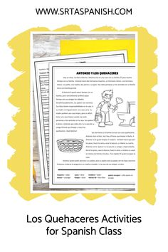 Are you looking for chores activities for your Spanish classes? Check out these activities for practicing los quehaceres in Spanish class! Grab a download for your novice middle school or high school Spanish classes. Reading, writing, listening & speaking activities are all included in this blog post to help you teach los quehaceres or chores in Spanish! Homework, reading a story, and great ideas for lesson plans as you teach clothing in Spanish to your secondary students! Spanish Classroom, Teaching Spanish, Middle School Spanish, Spanish Lesson Plans, Grammar Skills, The Third Person, Spanish 1, Comprehension Questions, Homework