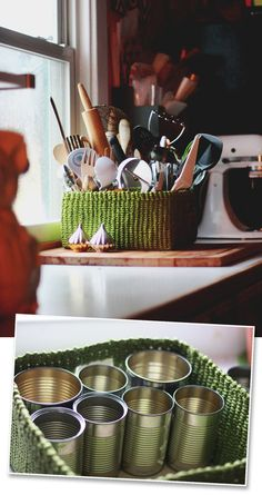 Turn a basket and clean aluminum cans into a sorted organizer for your kitchen or bathroom. | 7 Easy Organizing Tricks You'll Actually Want To Try