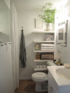 For my powder room, but would work in any small bathroom. I really love those shelves