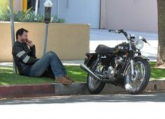 Keanu Reeves Takes a Break From Riding on April 16, 2015, Los Angeles, California, USA. Photo Credit Photographer Group. Copyright All Access Photo Agency.