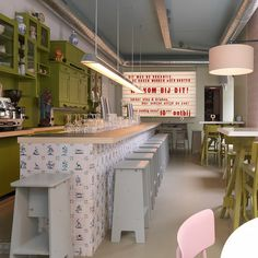 Madden Home Design - The Lafayette love this little restaurant. Look at the wall of painted furniture for storage. Coffee Shop, Retro Cafe, Restaurants, Restaurant Interior Design, Interior Shop, Design Hotel, Beautiful Interior Design, Cafe Design, House Design