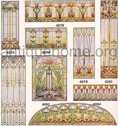 Leaded art glass available for your era home windows. Stained Glass Designs, Stained Glass Projects, Stained Glass Patterns, Stained Glass Art, Stained Glass Windows, Mosaic Glass, Glass Vase, Art Nouveau, Jugendstil Design
