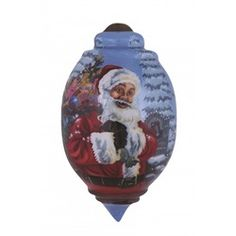 "Ne'Qwa ""Santa's Magic Bag"" Hand-Painted Blown Glass Christmas Ornament #7151127 This beautiful, hand-made glass ornament depicts Santa Claus carrying his bag full of gifts on a snowy winter night. Also features the artist's signature and an antiqued gold topper and green tassel  Artist - Dona Gelsinger"