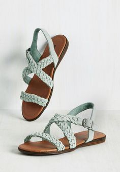 Odyssey You Later Sandal by Minnetonka - Mint, Solid, Braided, Casual, Beach/Resort, Boho, Pastel, Festival, Better, Strappy, Green, Pastel, Flat, Leather, Suede