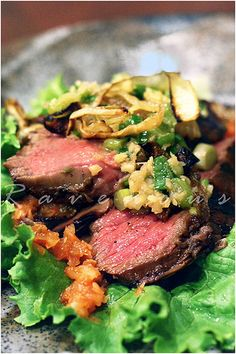 Momofuko Steak  Ssam - The green Onion Peanut relish is to die for alone!