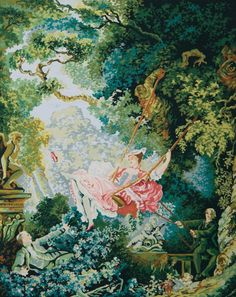 The Swing (Fragonard) - Grafitec:12.995 - CANVAS ONLY - Penelope Antique Canvas, colour printed design. Canvas size 60cm X 80cm with DMC thread recommendations.