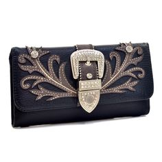 The Rustic Shop - Black Embroidery Leaf Pattern Buckle Accent Trifold Wallet,