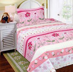 Mk Collection 2 Pc Bedspread Teens/girls Pink Floral New -- For more information, visit image link.