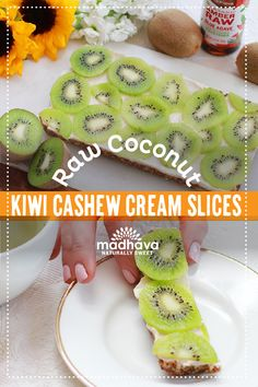 Raw Coconut Kiwi Cashew Cream Slices | Madhava