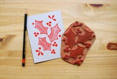 Linoleum Block Printing Designs christmas cards | Above: Holiday card made of a linoleum block and red ink, by artist ...