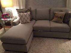 Brand new Pottery Barn Buchanan sofa w/chaise. Delivered one week ago and sat on once. Ordered wrong fabric and non- returnable. Silver Taupe performance fabric, poly filled cushions upholstered....