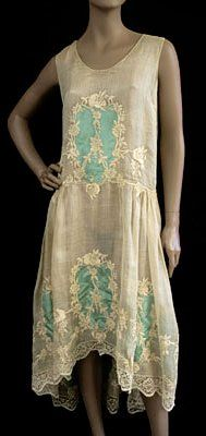 Vidalou Dress - c.1923 - by Vidalou, France - Hand embroidered cotton - @~ Mlle