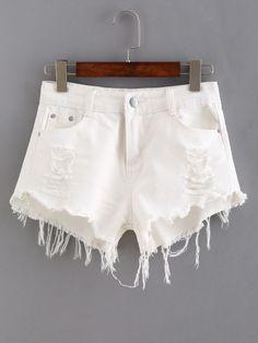 Denim Shorts mit zerrissenen Designs und Fransen Saum