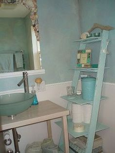old ladder new bathroom shelves, bathroom ideas, repurposing upcycling, shelving ideas, All dressed up with a coat of flat antique white