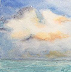 Acuarela - Nube y mar. Watercolor - Cloud and sea. HMZEN'14
