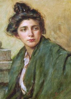 Alessandro Zezzos (Venice, 1848 - Vittorio Veneto, 1914) - Portrait Of A Woman With A Chignon
