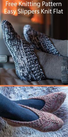 Free Knitting Pattern for Easy Lady's Slippers Knit Flat in Bulky Yarn – Knitting patterns, knitting designs, knitting for beginners. Knitting For Beginners, Easy Knitting, Knitting Socks, Knit Slippers Free Pattern, Knitted Slippers, Knitting Designs, Knitting Patterns Free, Knitting Ideas, Beanie Babies
