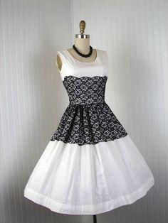 1950s Dress  Vintage 50s Dress Black White Lace by jumblelaya, $148.00