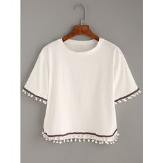 White Embroidered Tape Trimmed T-shirt ($8.99) ❤ liked on Polyvore featuring tops, t-shirts, white, cotton t shirts, white cotton shirt, short sleeve shirts, short sleeve cotton shirts and tee-shirt