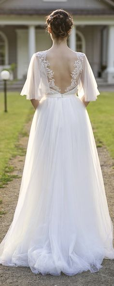 bohemian wedding dress / wedding dress / open back wedding dress / two piece wedding dress / flutter sleeve wedding dress