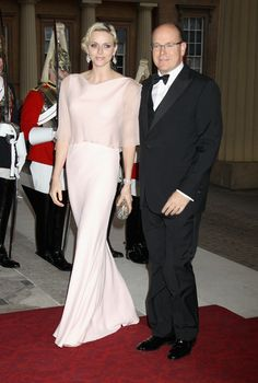 Regal splendour from global guests at Buckingham Palace -  Princess Charlene and Prince Albert of Monaco.. love her pink gown.