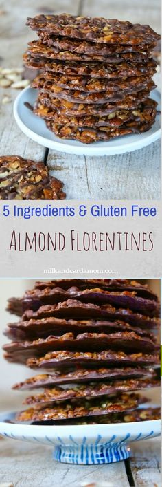 Note*****maybe find a substitute for heavy whipping cream to make it dairy free too Almond Florentines- perfect over ice cream or alone --gluten-free and made with only 5 ingredients! Gluten Free Sweets, Gluten Free Cookies, Gluten Free Baking, Gluten Free Recipes, Cookie Recipes, Dessert Recipes, Galletas Cookies, Paleo, Sweets