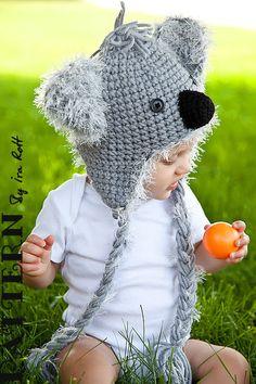 Blinky Koala Bear Hat - Crochet PDF Pattern - Original design by Ira Rott.  $5.50 CAD    FORMAT: pdf, 11 pages, written stitch pattern