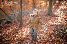 N. Lalor Photography: 3 year old boy portrait in the woods, surrounded by Fall leaves