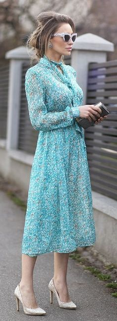 Cat Eye Sunnies, Teal Floral Midi Dress, Silver Heels | Iona Chisiu