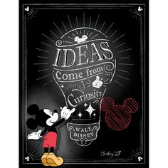 Mickey Mouse Ideas Come From Curiousity Poster - Disney & Pixar - Theme - Shop By Color or Theme Mickey Mouse Classroom, Classroom Banner, Disney Classroom, Classroom Themes, Art Classroom, Future Classroom, Walt Disney, Disney Theme, Disney Pics