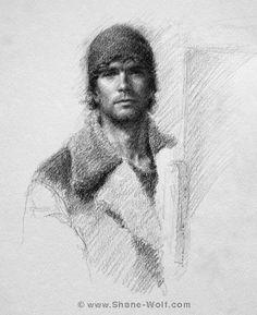 Self Portrait in Dad's 1966 US Navy Watch Cap graphite on paper, 2010 // Shane Wolf