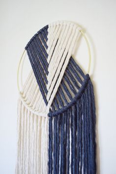 The Duo // Macramé Wall Hanging on Gold Hoop with Custom Color / Indigo Blue / Modern Dream Catcher Cross Patterns, Macrame Patterns, Color Secundario, Macrame Wall Hanging Diy, Brass Metal, Metal Ring, Macrame Design, Gold Hoops, Cool Diy