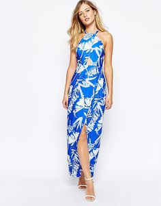 Stylestalker+Blue+Jasmine+Print+Maxi+Dress+With+Cut+Out+Detail