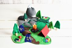 The Great Outdoors Camping Play Set - Ultimate Camping  - Woodland Forest Camping Set  - Felt  Play Set - Felt Toy - Unique Gift - Zooble