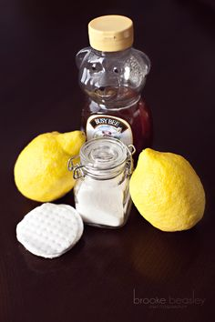 Here are the things that you will need:   Lemon   2T Honey   1/3C Sugar   2 Small bowls   2 Cotton Pads