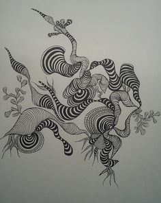 Louises galleri: Doddle - tusch tegning Doodle Patterns, Zentangle Patterns, Zentangles, Doddle Art, Doodle Paint, Tangle Art, Doodle Inspiration, Flower Doodles, Doodle Drawings