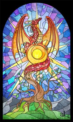 SciFi and Fantasy Art Stained Glass Dragon by Annah Wootten