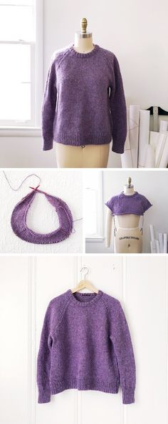 2017 : The purple lopi pullover - Fringe Association Sweater Knitting Patterns, Knitting Designs, Knit Patterns, Knitting Projects, Knitting Ideas, Learn How To Knit, How To Start Knitting, Purple Pattern, Fall Sweaters