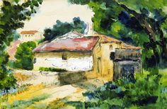 Paul Cézanne  Paul Cézanne 1865-67 House in Provence watercolour 21 x 34 cm