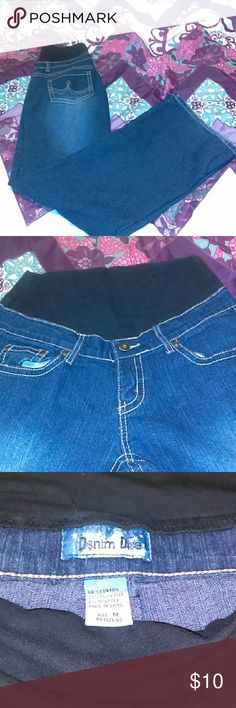 Maternity Jeans These are a dark wash flare leg stylish jean. The tag reads medium, which is equivalent to a women's 7/9. Jeans Flare & Wide Leg