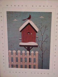 Image detail for -images winter birdhouse warren kimble folk art