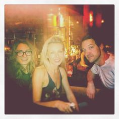 KCRW DJ Valida enjoying dinner with the Miike Snow posse prior to their show at Stubb's!