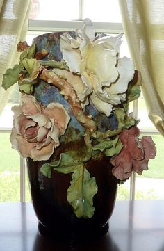 """French Barbotine Vase  16"""" tall by My Beautiful Barbotine"""