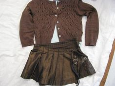 Jottum 3 pc winter outfit in brown / gold top / cardigan / skirt 3 4 Y 98 104