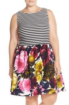 Taylor Dresses Mixed Media Fit & Flare Dress (Plus Size) available at #Nordstrom