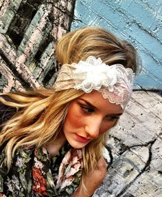WHITE Lacy Wide Headband with White Lace Flower by ThreeBirdNest, $28.00